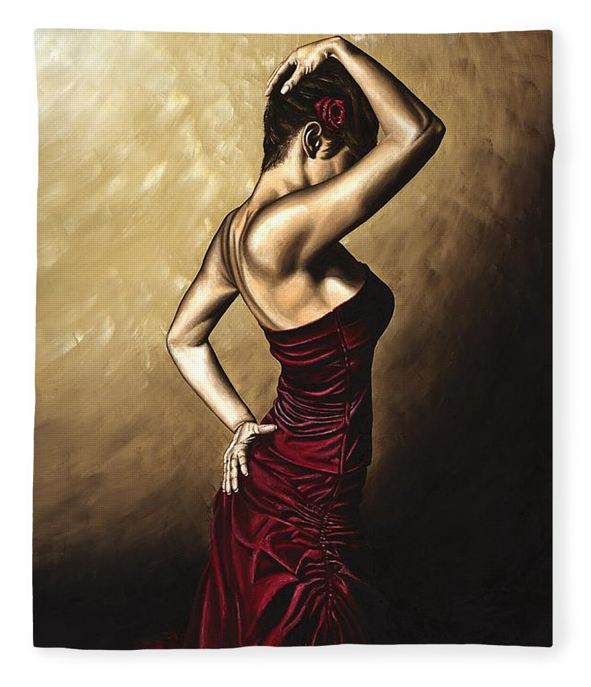 Flamenco Fleece Blanket featuring the painting Flamenco Woman by Richard Young