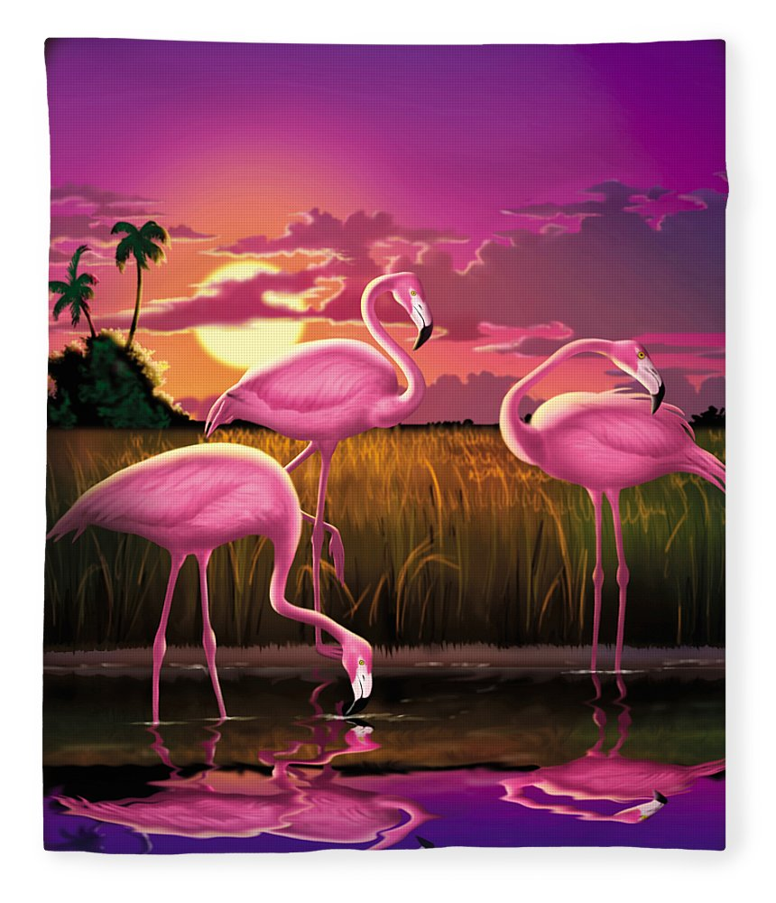 Flamingoes Fleece Blanket featuring the photograph Flamingoes Flamingos Tropical Sunset Landscape Florida Everglades Large Hot Pink Purple Print by Walt Curlee