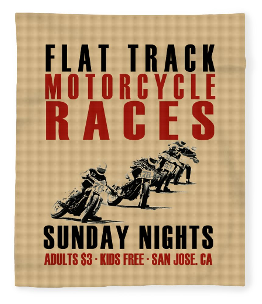 Flat Track Motorcycle Fleece Blanket featuring the photograph Flat Track Motorcycle Races by Mark Rogan