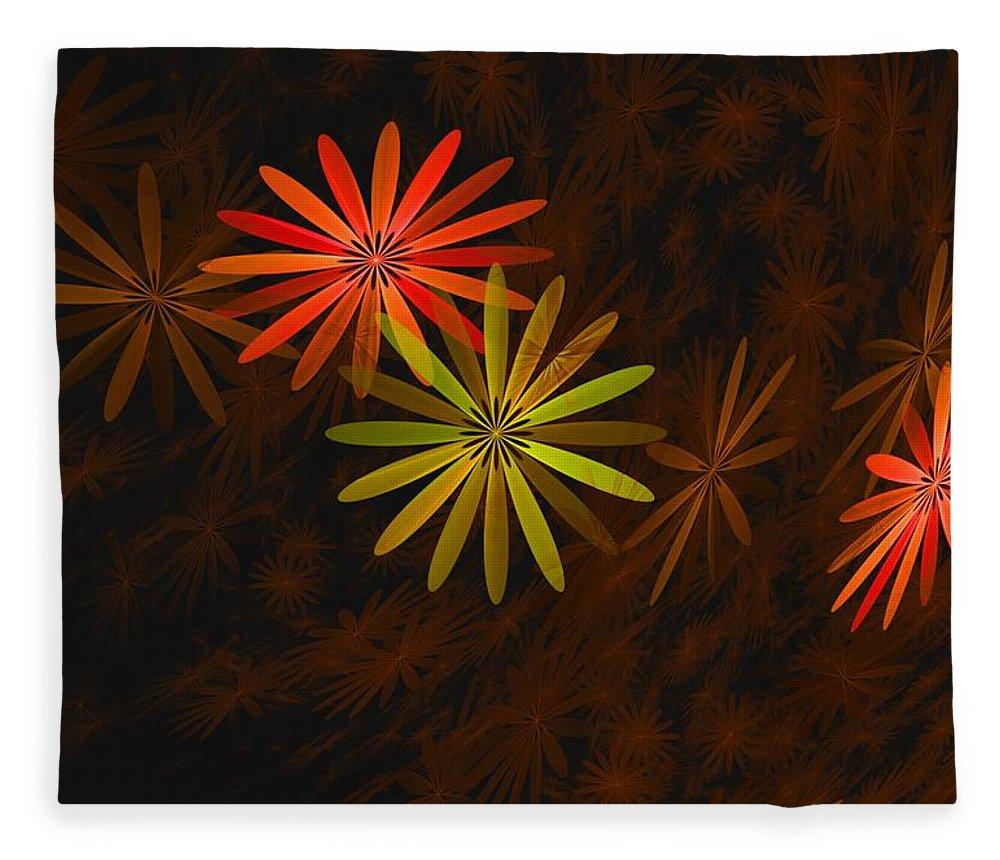 Digital Photography Fleece Blanket featuring the digital art Floating Floral-008 by David Lane