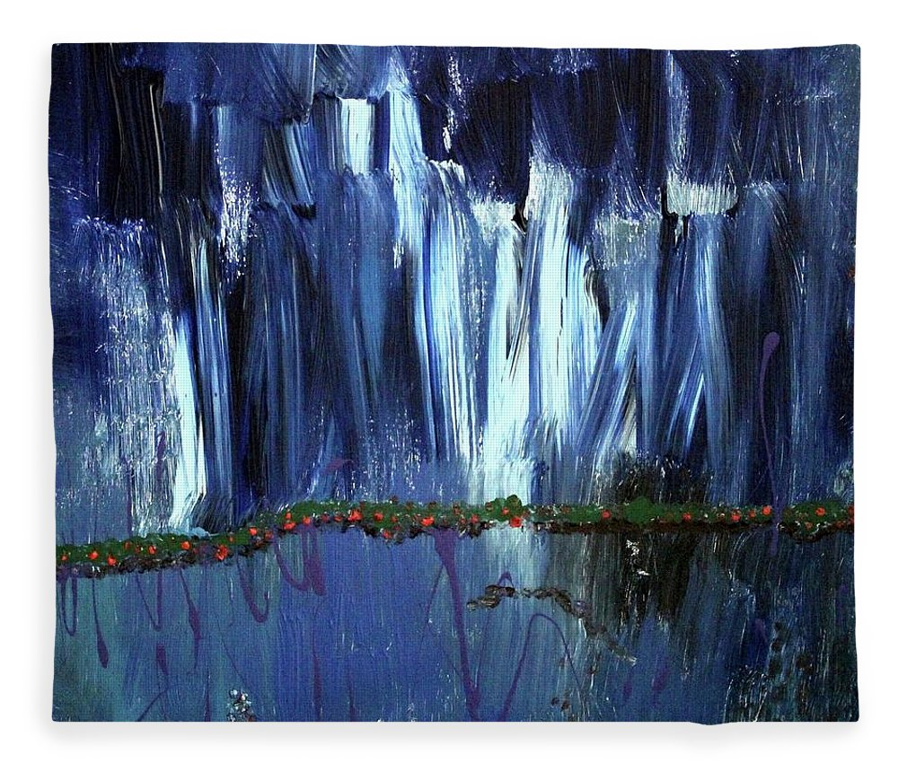 Blue Fleece Blanket featuring the painting Floating Gardens by Pam Roth O'Mara