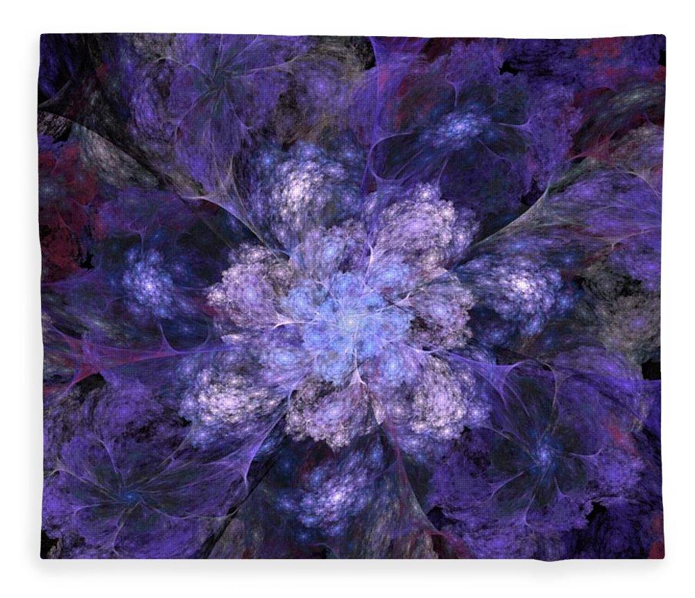 Digital Painting Fleece Blanket featuring the digital art Floral Fantasy 1 by David Lane
