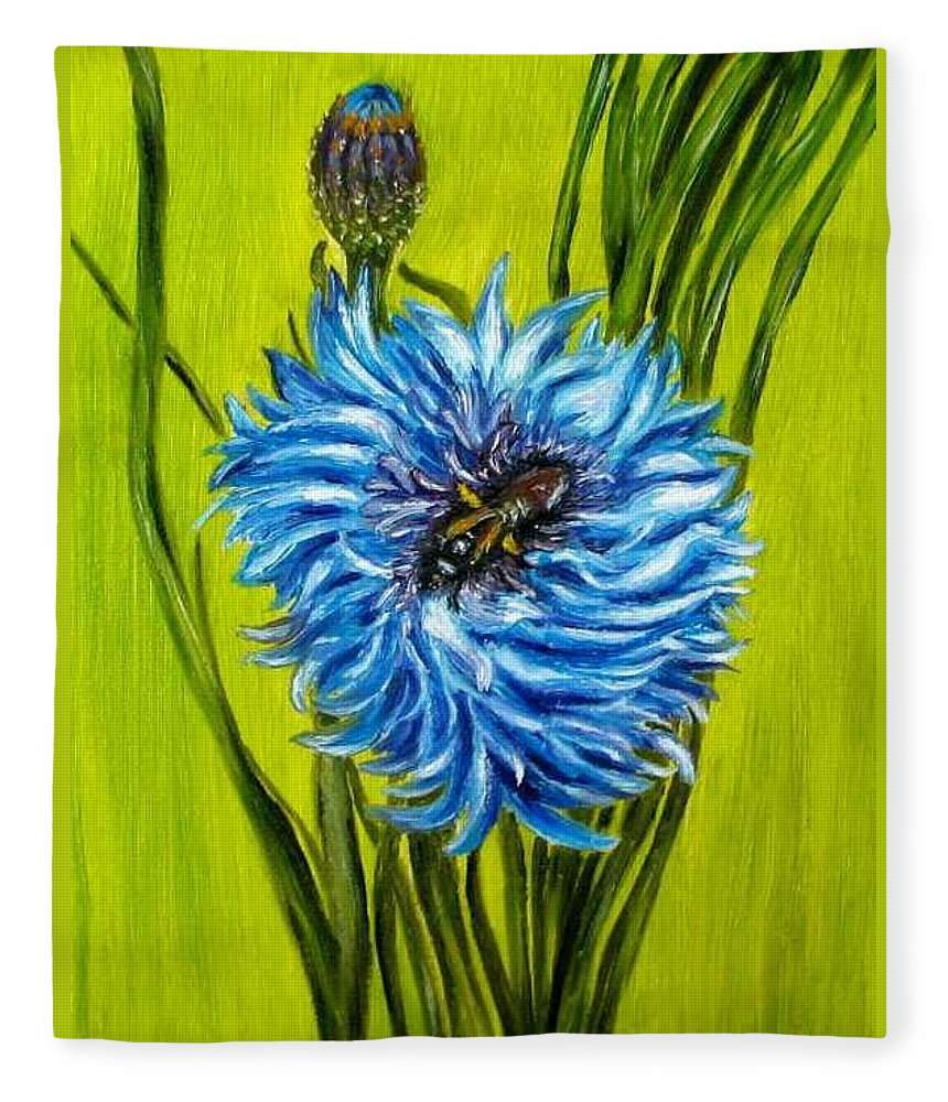 Floral Fleece Blanket featuring the painting Flower and Bee oil painting by Natalja Picugina