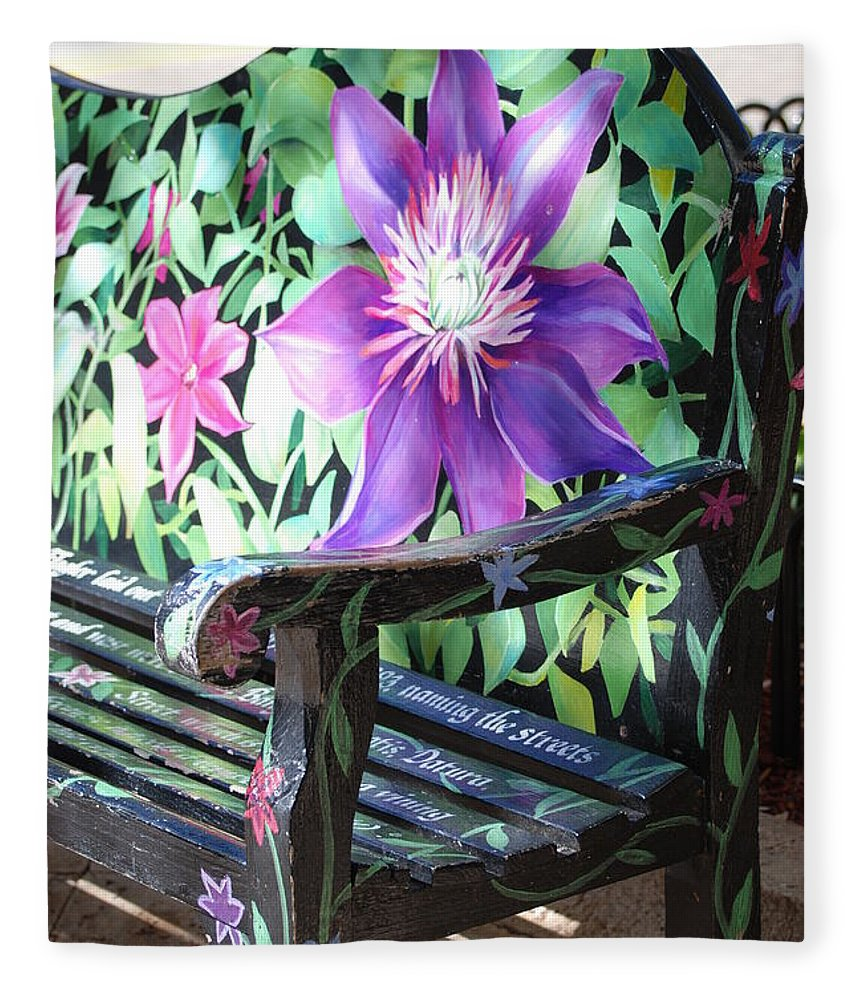 Macro Fleece Blanket featuring the photograph Flower Bench by Rob Hans