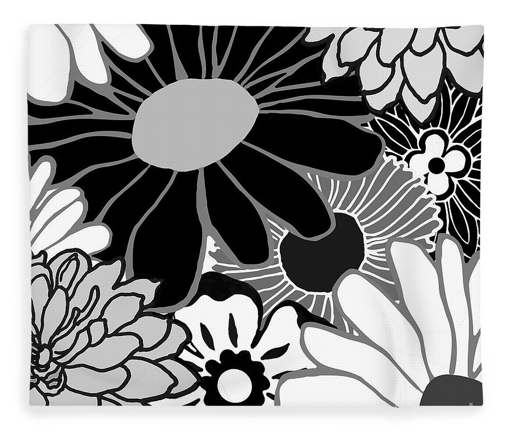 Flower Power Black And White Fleece Blanket For Sale By Mindy Sommers