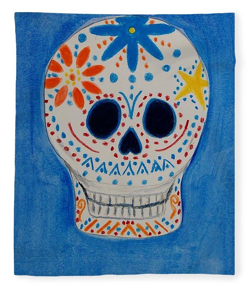 Skull Fleece Blanket featuring the mixed media Flower Skull by Charla Van Vlack