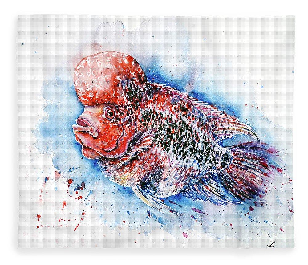 Flowerhorn Fleece Blanket