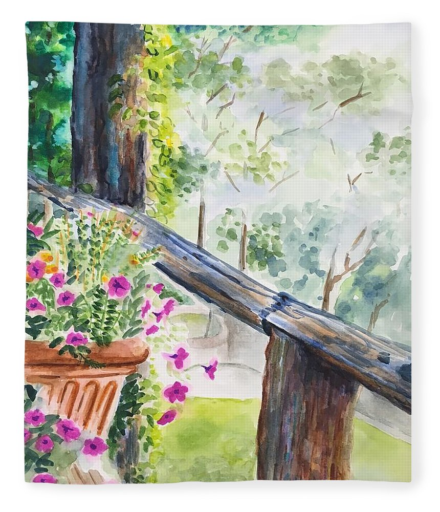 Flowers Fleece Blanket featuring the painting Flowers in Morning Mist by Judy Swerlick