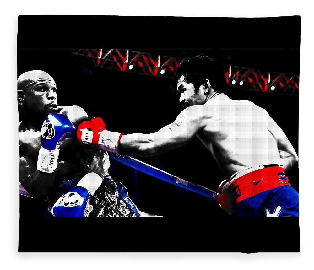 Manny Pacquiao Fleece Blanket featuring the mixed media Floyd Mayweather And Manny Pacquiao by Brian Reaves
