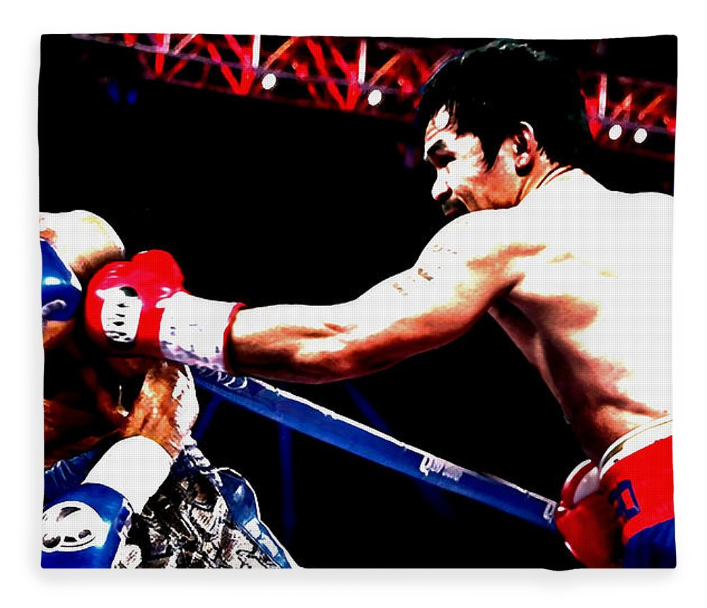 Manny Pacquiao Fleece Blanket featuring the mixed media Floyd Mayweather And Manny Pacquiao Going At It by Brian Reaves