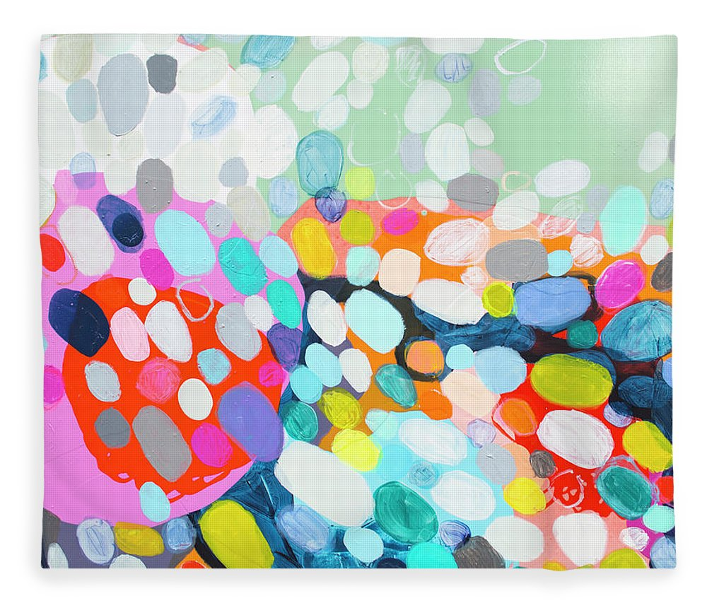 Abstract Fleece Blanket featuring the painting Flushed by Claire Desjardins