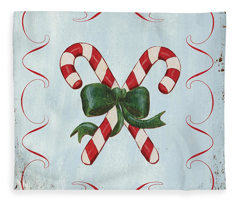 Candy Cane Fleece Blanket featuring the painting Folk Candy Cane by Debbie DeWitt