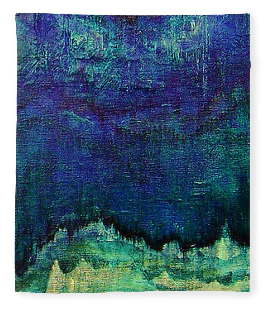 Blue Fleece Blanket featuring the painting For Linda by Shadia Derbyshire