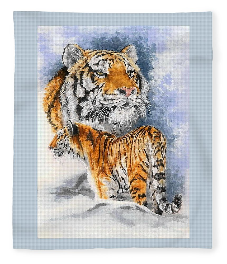 Big Cats Fleece Blanket featuring the mixed media Forceful by Barbara Keith