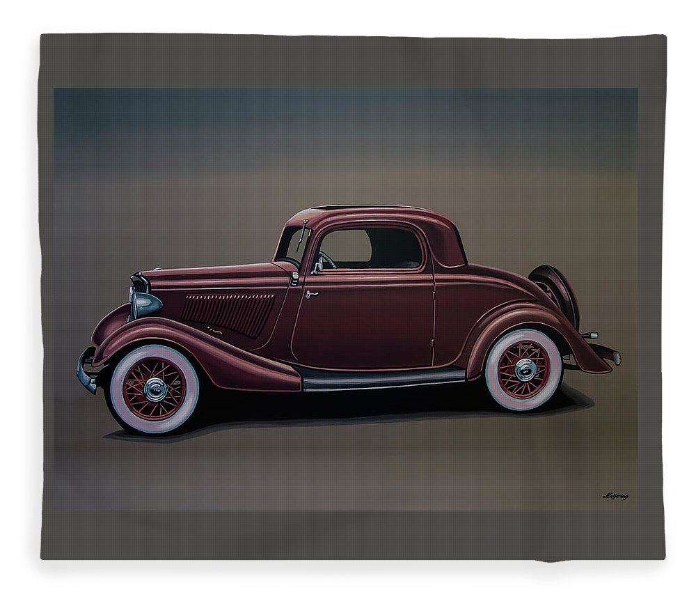 Ford 3 Window Coupe Fleece Blanket featuring the painting Ford 3 Window Coupe 1933 Painting by Paul Meijering
