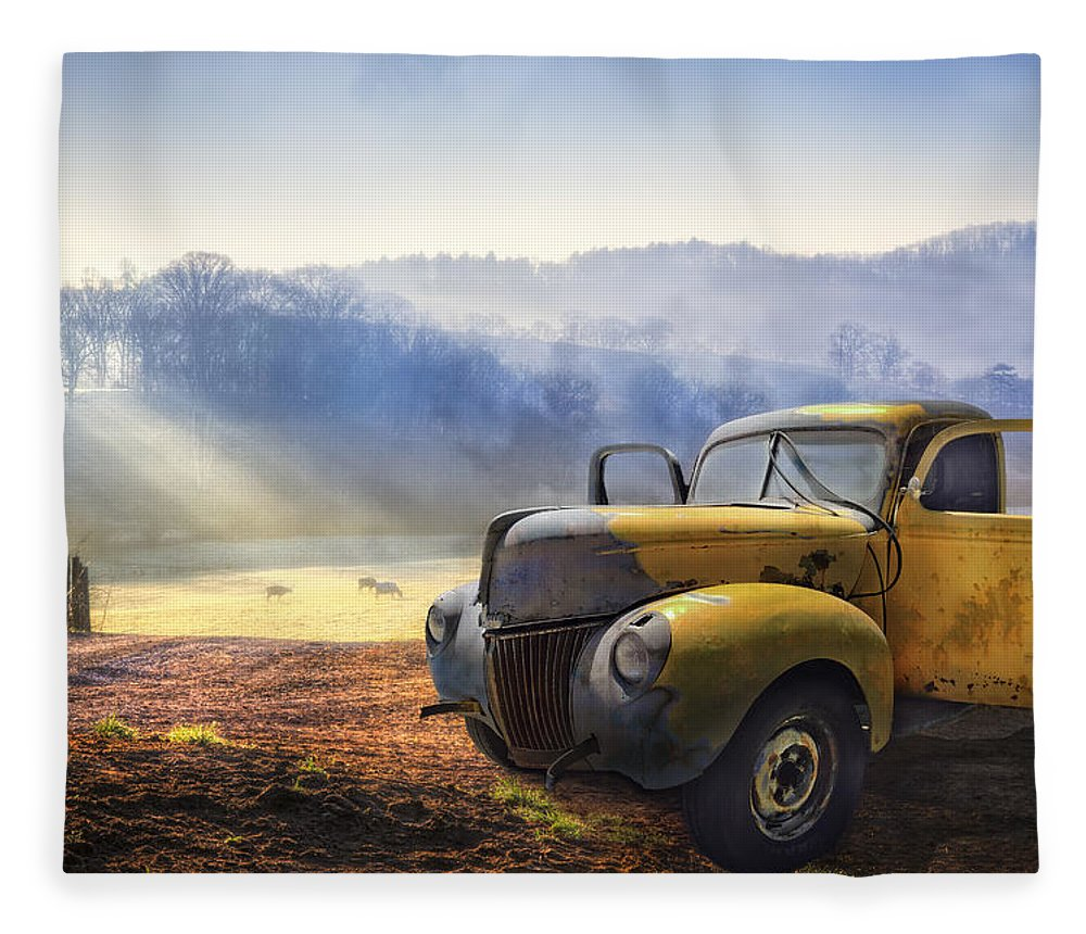 Appalachia Fleece Blanket featuring the photograph Ford In The Fog by Debra and Dave Vanderlaan