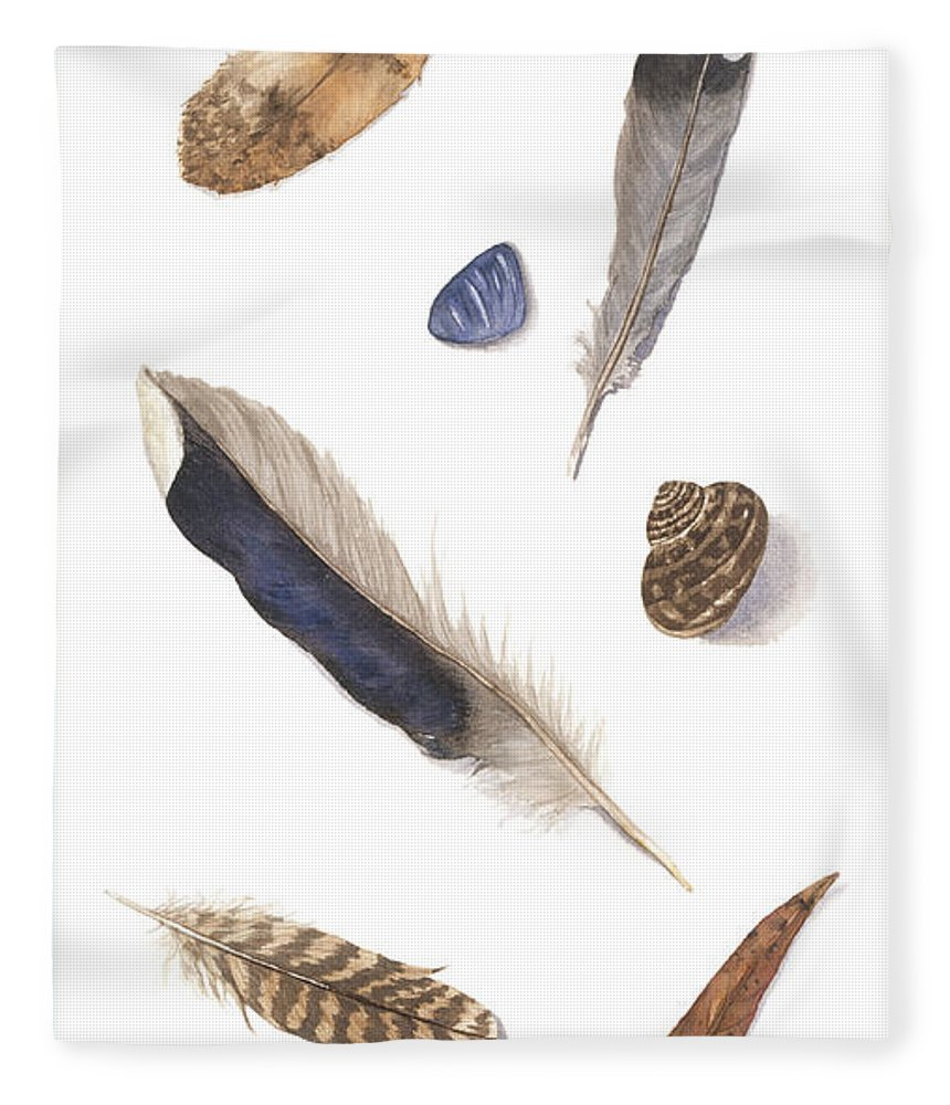 Feathers Fleece Blanket featuring the painting Found Treasures by Lucy Arnold
