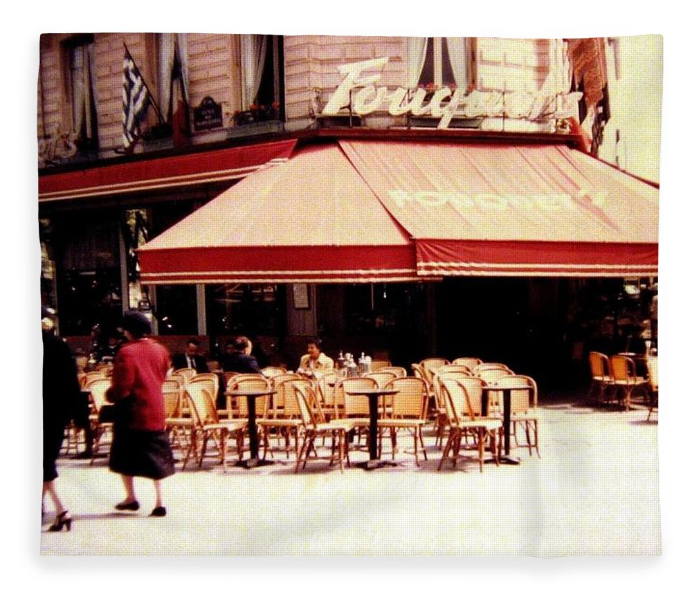 1955 Fleece Blanket featuring the photograph Fouquets Of Paris 1955 by Will Borden