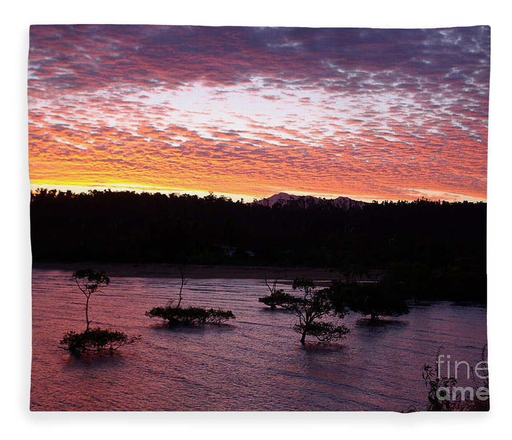 Landscape Fleece Blanket featuring the photograph Four Elements Sunset Sequence 3 Coconuts Qld by Kerryn Madsen - Pietsch