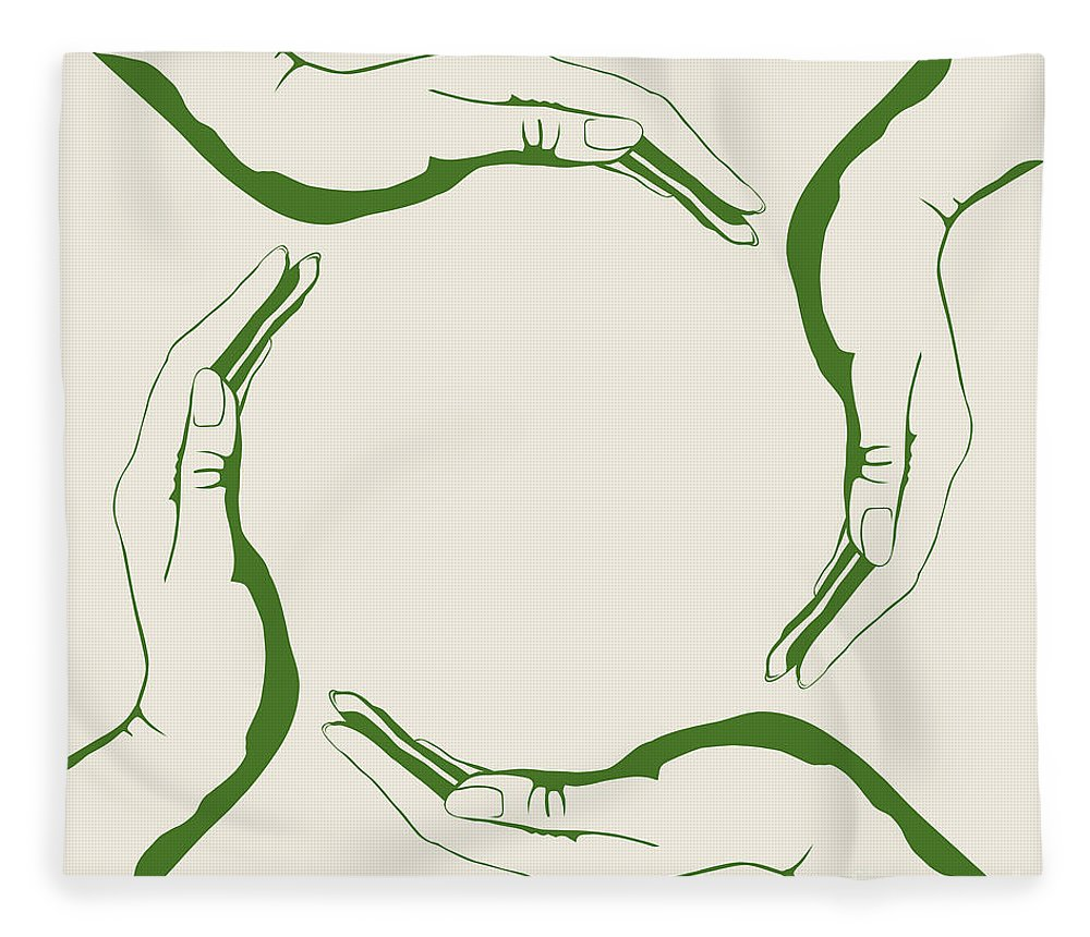 Symbol Fleece Blanket featuring the digital art Four People Hands Making Circle Conceptual Round Green Eco Symbo by Maxim Images Prints