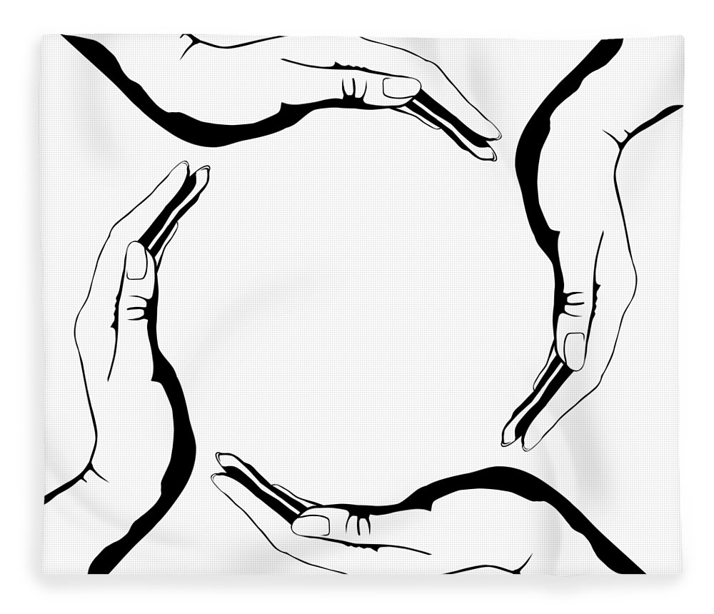 Symbol Fleece Blanket featuring the digital art Four People Hands Making Circle Conceptual Round Symbol Background Art Print by Maxim Images Prints