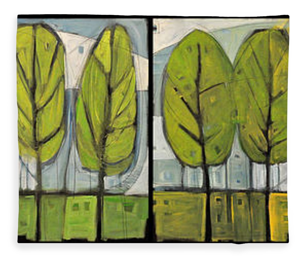 Trees Fleece Blanket featuring the painting Four Seasons Tree Series by Tim Nyberg