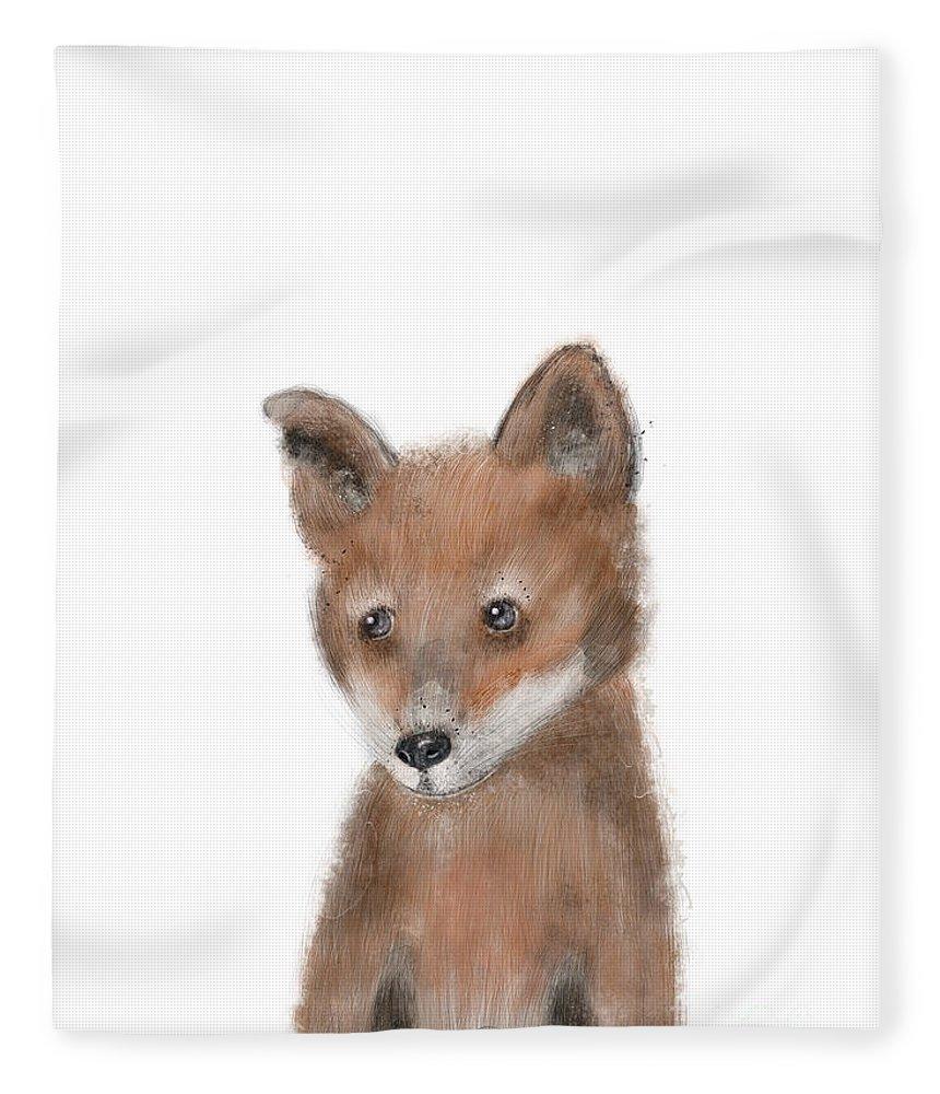 Fox Fleece Blanket featuring the painting fox by Bri Buckley