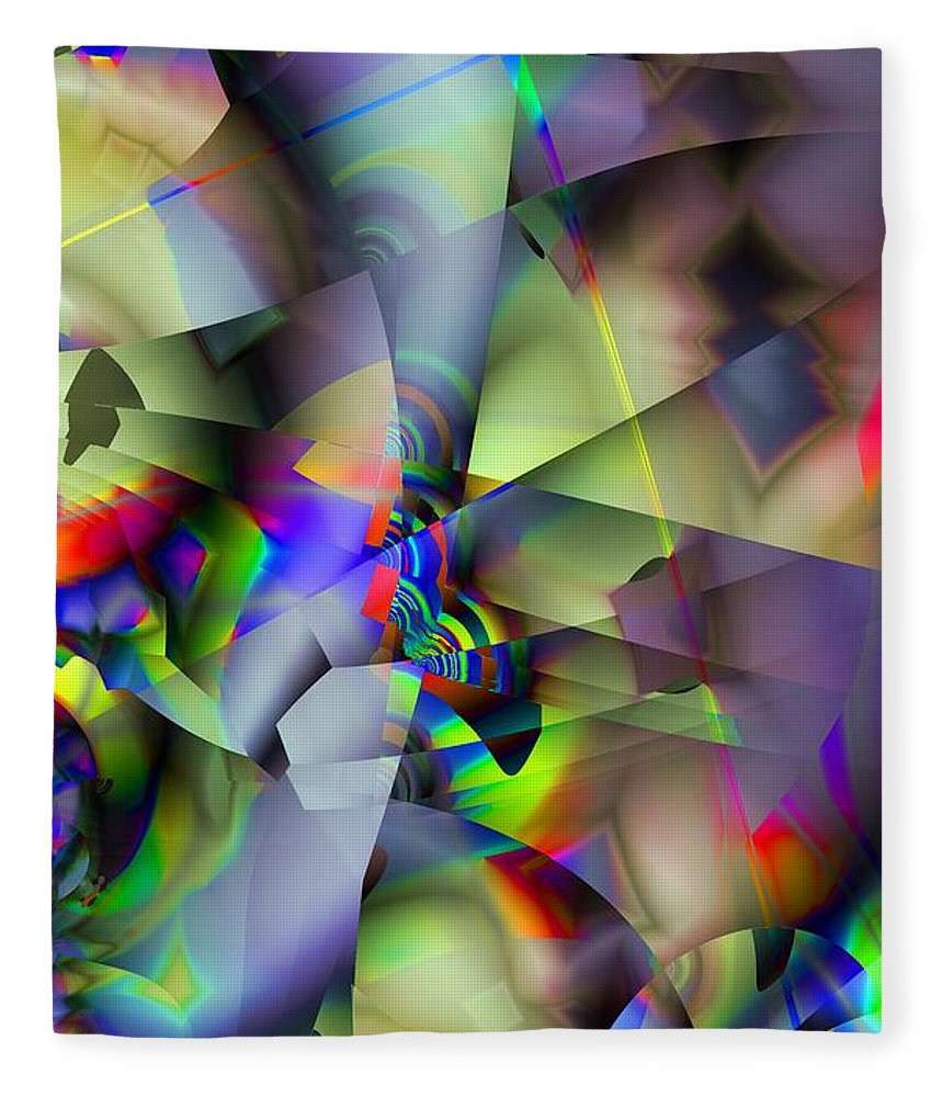 Fractal Fleece Blanket featuring the digital art Fractal Cubism by Ron Bissett