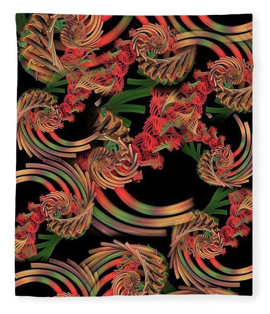 Fractal Fleece Blanket featuring the digital art Fractal Patterning by Ron Bissett