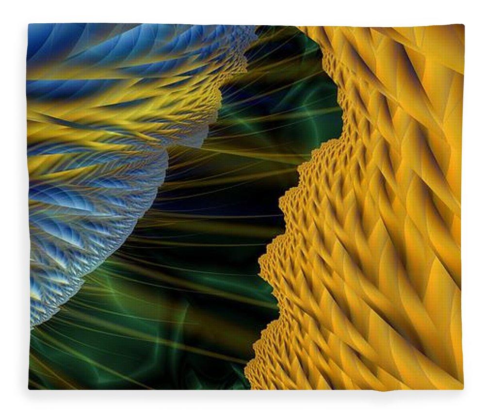Lightning Fleece Blanket featuring the digital art Fractal Storm by Ron Bissett