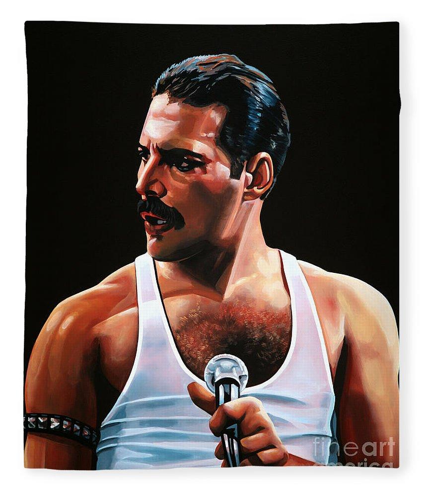 Freddie Mercury Fleece Blanket featuring the painting Freddie Mercury by Paul Meijering