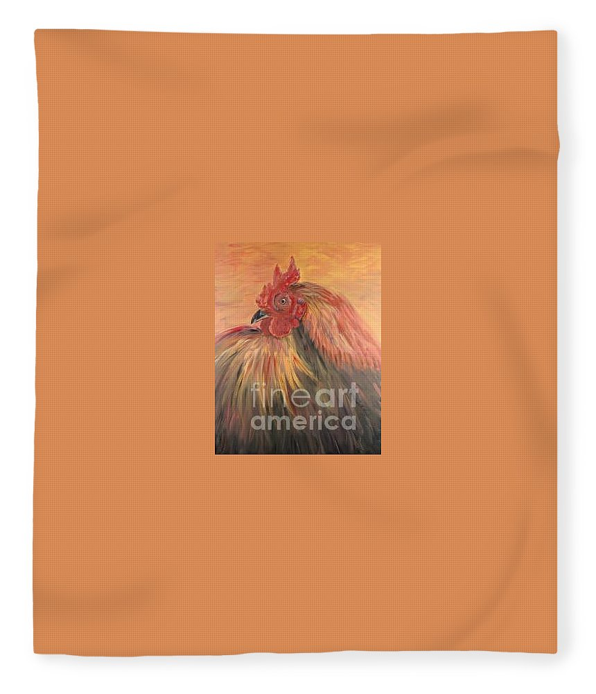 Rooster Fleece Blanket featuring the painting French Country Rooster by Nadine Rippelmeyer