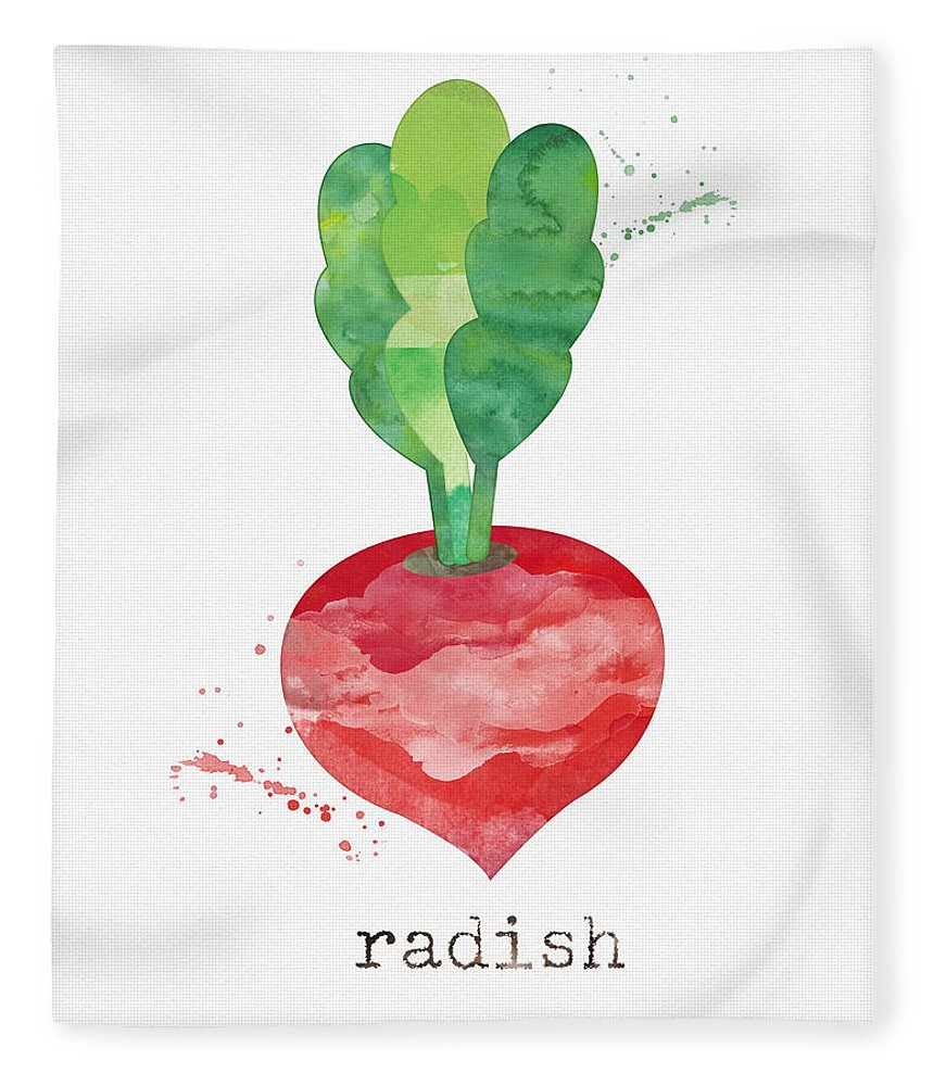 Radish Fleece Blanket featuring the painting Fresh Radish by Linda Woods