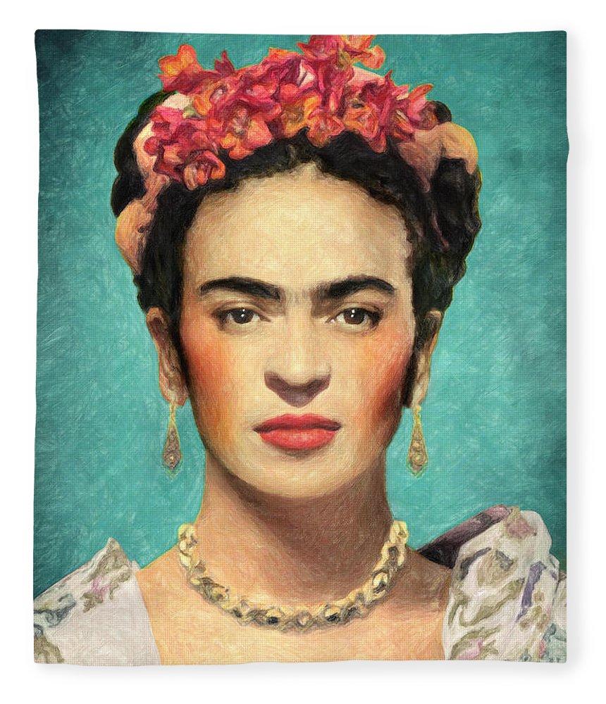 Frida Kahlo Fleece Blanket featuring the painting Frida Kahlo by Zapista OU
