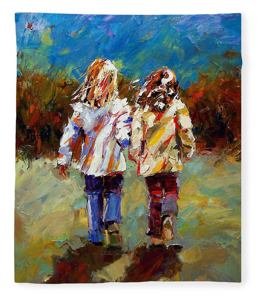 Girls Fleece Blanket featuring the painting Friends Forever by Debra Hurd