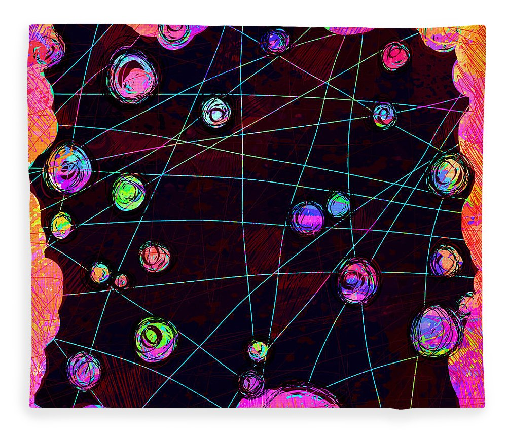 Abstract Fleece Blanket featuring the digital art Friends by William Russell Nowicki