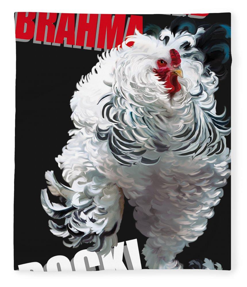 Frizzled Brahma Light Brahma Fleece Blanket featuring the digital art Frizzled Brahma T-shirt Print by Sigrid Van Dort