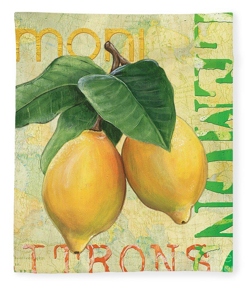 Lemon Fleece Blanket featuring the painting Froyo Lemon by Debbie DeWitt