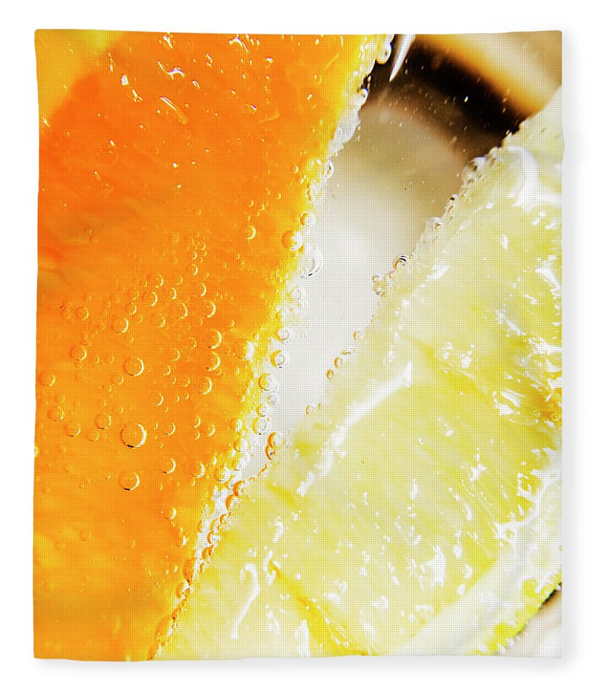 Slice Fleece Blanket featuring the photograph Fruity Drinks Macro by Jorgo Photography - Wall Art Gallery