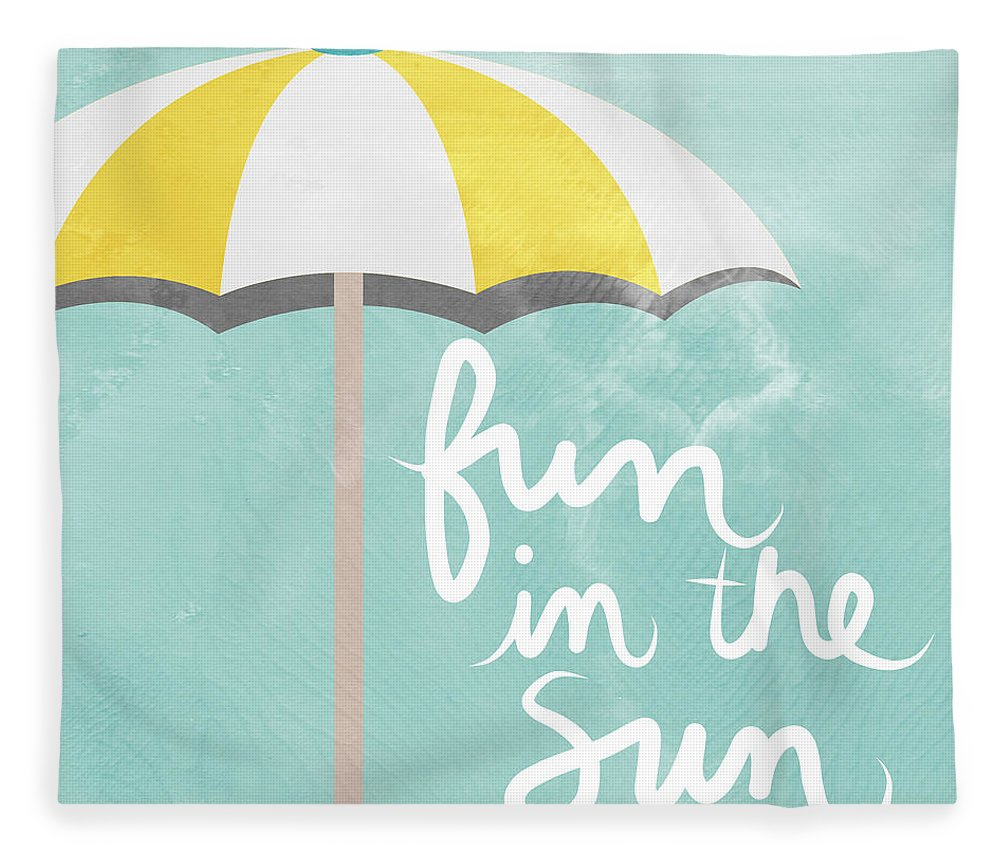 Beach Fleece Blanket featuring the painting Fun In The Sun by Linda Woods