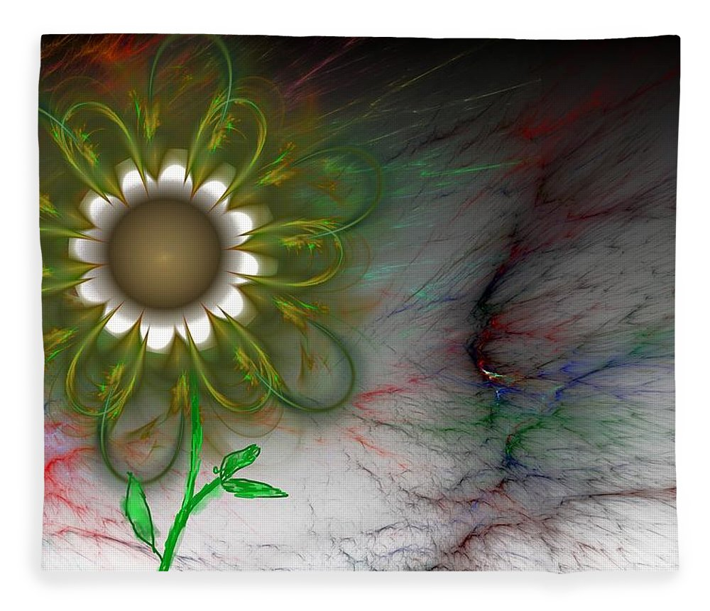 Digital Photography Fleece Blanket featuring the digital art Funky Floral by David Lane
