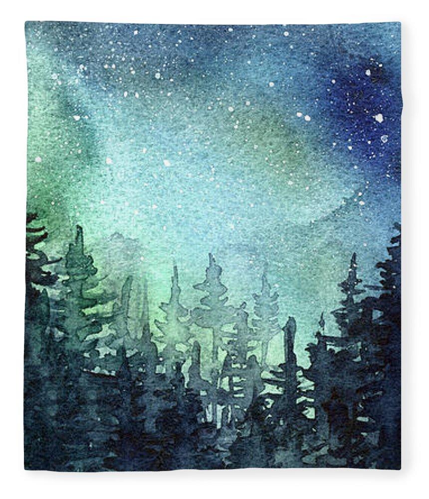 Watercolor Galaxy Fleece Blanket featuring the painting Galaxy Watercolor Aurora Painting by Olga Shvartsur