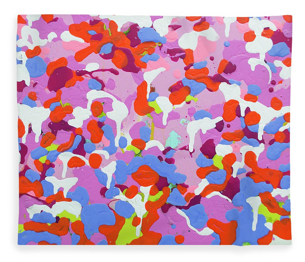 Abstract Fleece Blanket featuring the painting Garden Camo by Claire Desjardins