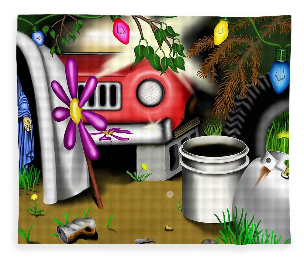 Surrealism Fleece Blanket featuring the digital art Garden Landscape I - Into The Trailorpark by Robert Morin