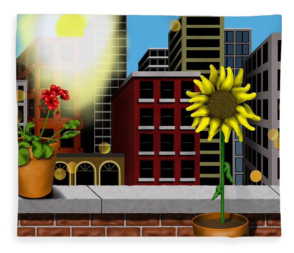 Surrealism Fleece Blanket featuring the digital art Garden Landscape II - Across The Urban Jungle by Robert Morin