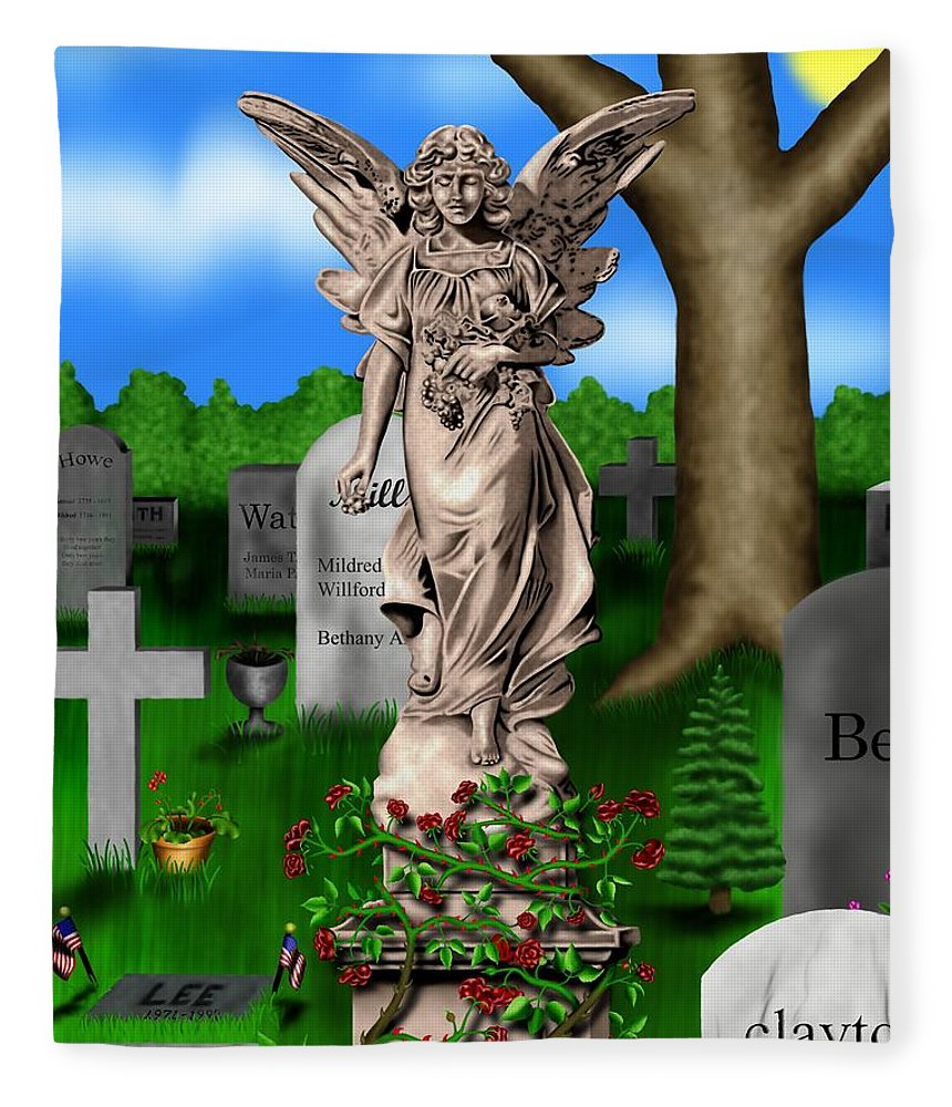 Surrealism Fleece Blanket featuring the digital art Garden Landscape III b - Where The Dead Sleep by Robert Morin