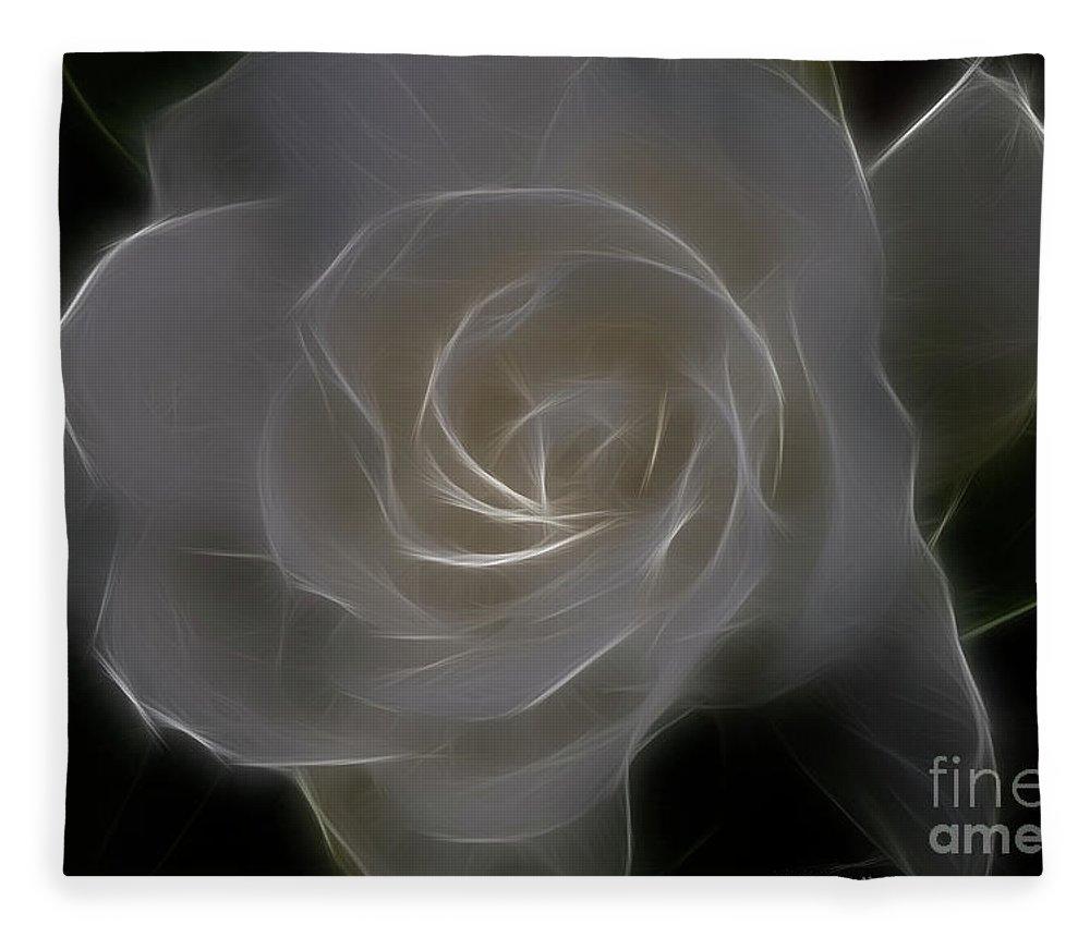Gardenia Fleece Blanket featuring the photograph Gardenia Blossom by Deborah Benoit