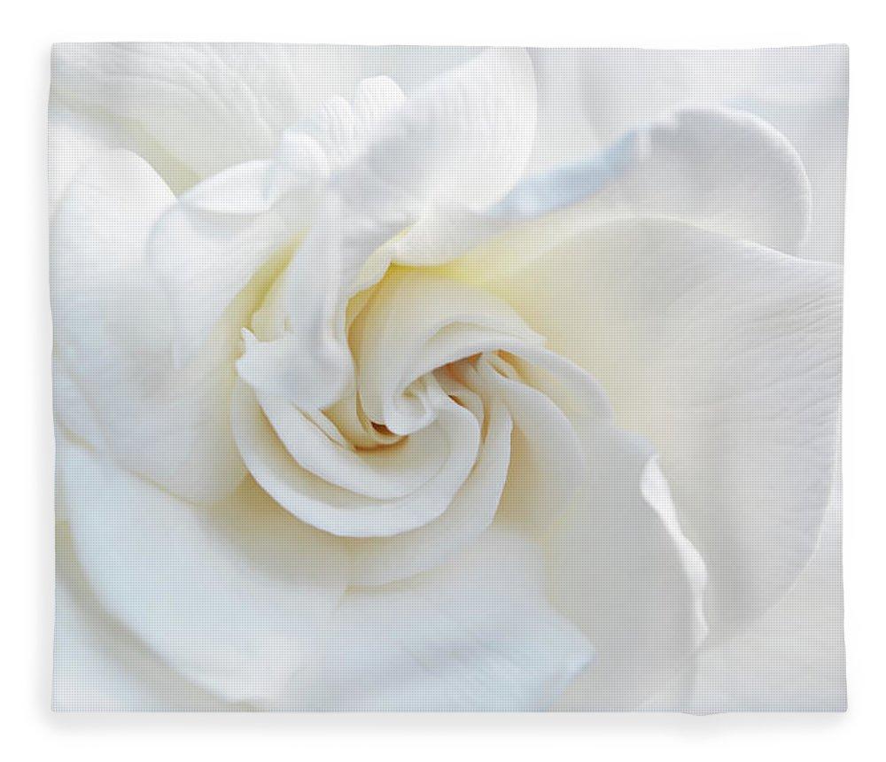 Gardenia Fleece Blanket featuring the photograph Gardenia Macro by Aimee L Maher ALM GALLERY