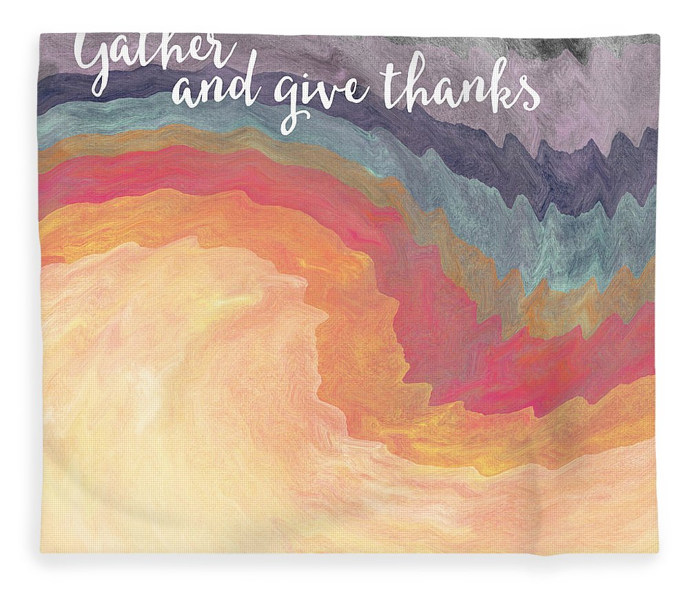 Harvest Fleece Blanket featuring the mixed media Gather And Give Thanks- Abstract Art By Linda Woods by Linda Woods