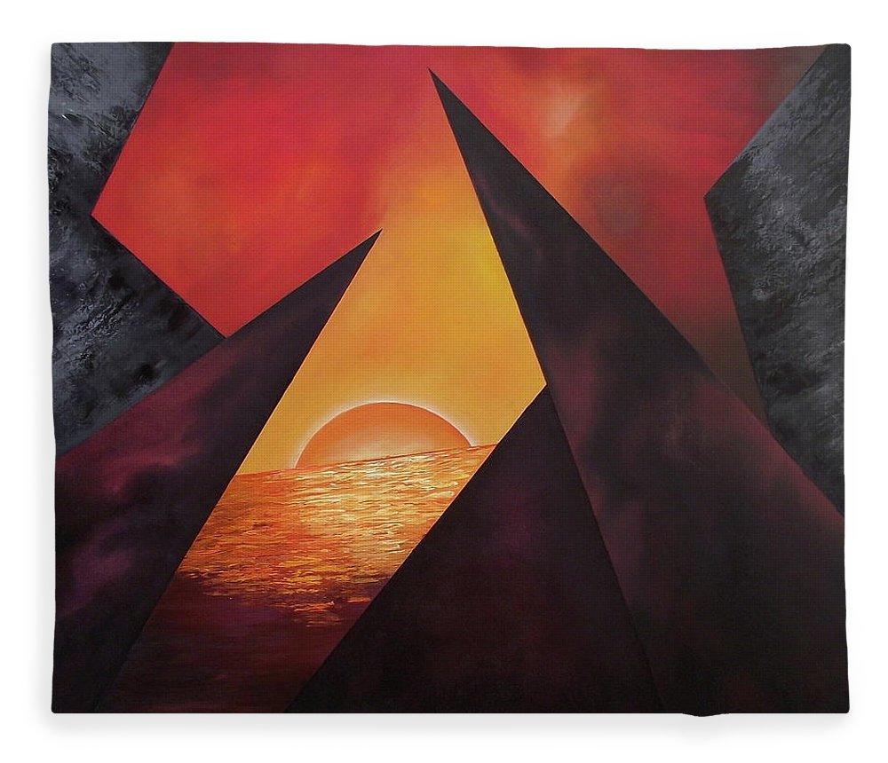 Fleece Blanket featuring the painting Gazing Beyound by Ara Elena